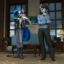 Size: 2500x2500 | Tagged: safe, artist:tahublade7, dj pon-3, octavia melody, silver spoon, vinyl scratch, anthro, plantigrade anthro, 3d, alternate universe, boots, carrying, clothes, couch, daz studio, dress, feet, female, glasses, lesbian, over shoulder, playing, rough housing, scratchtavia, shipping, sisters, socks
