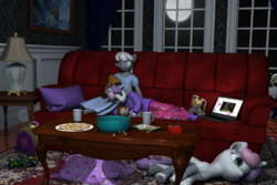 Size: 3000x2000 | Tagged: safe, artist:tahublade7, silver spoon, sweetie belle, fox, anthro, plantigrade anthro, 3d, anthro ponidox, barefoot, clothes, computer, cookie, couch, cream the rabbit, crossover, daz studio, doll, feet, five nights at freddy's, friendshipping, game boy, laptop computer, marionette, minecraft, movie night, nightgown, pajamas, pillow, plushie, popcorn, shipping, silverbelle, sleepover, slumber party, socks, sonic the hedgehog (series), space marine, tangled (disney), toy, warhammer (game), warhammer 40k, when you see it