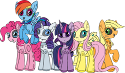 Size: 3164x1862 | Tagged: safe, artist:taaffeiite, applejack, fluttershy, pinkie pie, rainbow dash, rarity, twilight sparkle, alicorn, earth pony, pegasus, pony, robot, robot pony, unicorn, applebot, female, flutterbot, flying, hooves, horn, mane six, mare, missing cutie mark, open mouth, pinkie bot, princess twibot, rainbot dash, raribot, roboticization, simple background, smiling, spread wings, teeth, transparent background, twibot, twilight sparkle (alicorn), wings