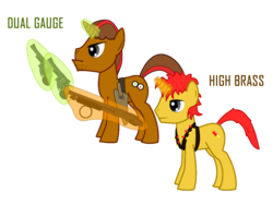 Size: 800x600 | Tagged: safe, oc, oc only, oc:dual gauge, oc:high brass, fallout equestria, fallout equestria: sweet child of mine, bandolier, father and son, gun, holster, hoofberg 590, pistol, revolver, s&m model 29, shotgun, simple background, text, transparent background, vector