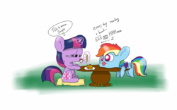 Size: 1280x800 | Tagged: safe, artist:dambitail, rainbow dash, twilight sparkle, drinking, egghead, grammar error, menu, table