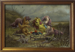 Size: 3460x2412 | Tagged: safe, artist:gor1ck, angel bunny, apple bloom, scootaloo, sweetie belle, tank, winona, diamond dog, apple, carrot, classic art, cutie mark crusaders, fine art emulation, fine art parody, frame, gun, hunters at rest, parody, ponified, water bottle