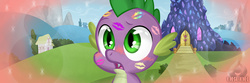 Size: 1200x397 | Tagged: safe, artist:obcor, spike, cute, female, implied applespike, implied flutterspike, implied pinkiespike, implied rainbowspike, implied shipping, implied sparity, implied straight, implied twispike, kiss mark, lipstick, male, spike gets all the mares, straight