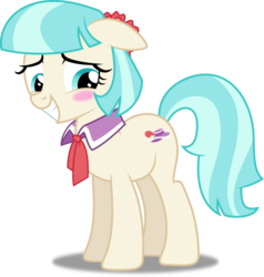 Size: 3814x4000 | Tagged: safe, artist:dashiesparkle, artist:lahirien, coco pommel, earth pony, pony, made in manehattan, .svg available, absurd resolution, blushing, cocobetes, cute, female, ponyscape, simple background, solo, transparent background, vector
