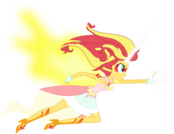 Size: 4326x3345   Tagged: safe, artist:dashiemlpfim, artist:mit-boy, sunset shimmer, equestria girls, friendship games, absurd resolution, artificial wings, augmented, clothes, daydream shimmer, dress, female, fight, high heels, horn, magic, magic wings, offscreen character, simple background, skirt, solo, transparent background, vector, wings