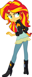 Size: 1363x3223 | Tagged: safe, artist:zeldarondl, edit, vector edit, sunset shimmer, equestria girls, friendship games, boots, clothes, female, full body, leather jacket, looking back, offscreen character, raised eyebrow, shoes, simple background, solo, transparent background, vector