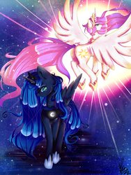 Size: 1024x1365   Tagged: safe, artist:xkittyblue, princess celestia, princess luna, duo, pink-mane celestia