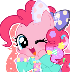 Size: 361x367 | Tagged: safe, artist:momo, pinkie pie, pony, abstract background, askharajukupinkiepie, bow, bracelet, candy, clothes, cute, diapinkes, female, food, hair accessory, hair bow, harajuku, jewelry, one eye closed, open mouth, solo, wink