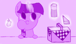 Size: 1280x750 | Tagged: safe, artist:zztfox, twilight sparkle, apple, eating, glowing horn, picnic basket, sandwich, solo