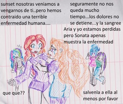 Size: 2267x1911 | Tagged: safe, artist:elgatosabio, adagio dazzle, aria blaze, princess celestia, principal celestia, sonata dusk, sunset shimmer, equestria girls, rainbow rocks, crying, implied menstruation, lined paper, spanish, story included, the dazzlings, traditional art, translated in the comments