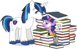 Size: 1080x690 | Tagged: safe, artist:dm29, shining armor, smarty pants, twilight sparkle, pony, unicorn, book, book fort, bookstore, cute, duo, female, filly, filly twilight sparkle, julian yeo is trying to murder us, looking at each other, male, open mouth, simple background, smiling, that pony sure does love books, transparent background, twiabetes