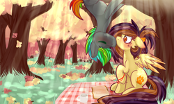 Size: 5000x3000 | Tagged: safe, artist:ruef, oc, oc only, oc:glitch, oc:lessi, earth pony, pegasus, pony, absurd resolution, autumn, autumn leaves, blushing, book, colored wings, colored wingtips, couple, crepuscular rays, ear blush, eyes closed, glessi, hot chocolate, kissing, leaves, mug, nose wrinkle, oc x oc, picnic, picnic blanket, raised hoof, shipping, sitting, spread wings, tree, upside down, wide eyes