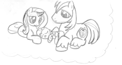 Size: 1192x640 | Tagged: artist:midwestbrony, big macintosh, earth pony, foal, male, monochrome, offspring, parent:big macintosh, parents:trixmac, parent:trixie, pencil drawing, pony, safe, shipping, stallion, straight, traditional art, trixie, trixmac