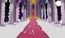 Size: 10000x5800 | Tagged: absurd res, artist:magister39, background, broken glass, canterlot, canterlot throne room, destruction, moon, night, no pony, pillar, post-apocalyptic, ruins, safe, scenery, stained glass, throne, throne room, window