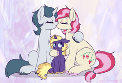Size: 750x514 | Tagged: source needed, safe, artist:lulubell, oc, oc only, oc:aquaria lance, oc:bleeding heart, oc:sundial, earth pony, pony, unicorn, disgusted, eyes closed, female, floppy ears, frown, glare, hug, kissing, lesbian, sitting, smiling, tongue out, unshorn fetlocks