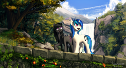 Size: 3672x2000 | Tagged: safe, artist:rublegun, dj pon-3, octavia melody, vinyl scratch, earth pony, pony, unicorn, alternate hairstyle, beautiful, cute, duo, female, looking up, mare, missing accessory, mountain, nature, open mouth, outdoors, raised hoof, scenery, scenery porn, smiling, walking, waterfall