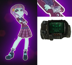 Size: 686x627 | Tagged: equestria girls, fallout, friendship games, pipboy, safe, screencap, sunny flare, sunny flare's wrist devices