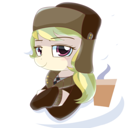 Size: 1000x1000 | Tagged: safe, artist:puetsua, march gustysnows, clothes, coat, crossed arms, cup, cutie mark, delegate, female, hat, portrait, solo, ushanka