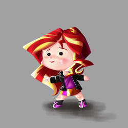 Size: 600x600 | Tagged: safe, artist:bunnimation, sunset shimmer, equestria girls, chibi, solo