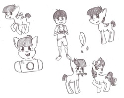 Size: 900x708 | Tagged: artist needed, source needed, safe, diamond tiara, featherweight, human, feathertiara, female, humanized, male, missing cutie mark, monochrome, shipping, straight, traditional art