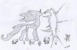 Size: 2692x1762   Tagged: safe, artist:ed-skar, tantabus, do princesses dream of magic sheep, lineart, monochrome, rift, scene interpretation, traditional art