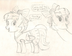 Size: 3101x2418 | Tagged: safe, artist:chronicle23, lilac sky, spring step, sunlight spring, pegasus, pony, rainbow falls, cheerleader, clothes, monochrome, skirt, traditional art