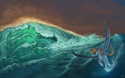 Size: 2000x1250   Tagged: safe, artist:rain-gear, oc, oc only, pegasus, pony, ocean, solo, water, wave