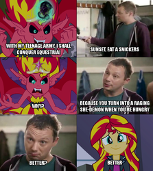 Size: 640x719 | Tagged: safe, edit, edited screencap, screencap, sunset shimmer, human, equestria girls, rainbow rocks, comic, image macro, meme, snickers, sunset satan, you're not you when you're hungry