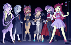 Size: 1582x1000 | Tagged: safe, artist:uotapo, apple bloom, babs seed, diamond tiara, scootaloo, silver spoon, sweetie belle, human, vampire, werewolf, wolf, equestria girls, adorababs, adorabloom, animal costume, big babs wolf, blood, blood the last vampire, blood transfusion, blushing, cape, clothes, costume, covering, crossover, cute, cutealoo, cutie mark crusaders, diamondbetes, diasweetes, dress, embarrassed, equestria girls-ified, evening gloves, fangs, female, glasses, gloves, goth, gothic, halloween, high heels, holiday, iv, katana, leotard, looking at you, necklace, open mouth, scooter, silverbetes, sweat, sword, uotapo is trying to murder us, uotapo will kill us all, weapon, wings, wolf costume