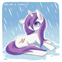 Size: 1280x1280 | Tagged: dead source, safe, artist:jopiter, rarity, magical mystery cure, female, rain, sad, solo, swapped cutie marks, wet, wet mane, wet mane rarity