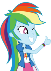 Size: 5001x6962   Tagged: safe, artist:luckreza8, rainbow dash, equestria girls, friendship games, .svg available, absurd resolution, canterlot high, clothes, cute, dashabetes, inkscape, long hair, simple background, skirt, solo, thumbs up, transparent background, vector, wink, wondercolts, wristband