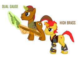 Size: 800x600 | Tagged: safe, artist:salted pingas, oc, oc only, oc:dual gauge, oc:high brass, pony, unicorn, fallout equestria, fallout equestria: sweet child of mine, armor, clothes, father and son, gun, hoofberg 590, s&m model 29, text, vector
