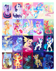 Size: 1000x1282 | Tagged: safe, artist:mmishee, apple bloom, applejack, big macintosh, derpy hooves, discord, dj pon-3, doctor whooves, fluttershy, pinkie pie, princess cadance, princess celestia, princess luna, queen chrysalis, rainbow dash, rarity, scootaloo, shining armor, sunset shimmer, sweetie belle, time turner, trixie, twilight sparkle, vinyl scratch, alicorn, bat pony, changeling, earth pony, pegasus, pony, unicorn, 3d glasses, alicorn tetrarchy, annoyed, apple, bat pony oc, bat wings, bipedal, compilation, cutie mark, cutie mark crusaders, design, female, floating, flutterbat, flying, grin, hooves, horn, lineless, looking at you, male, mane six, mare, race swap, raised hoof, rearing, sitting, spread wings, stallion, sunglasses, twilight sparkle (alicorn), underhoof, walking, wings