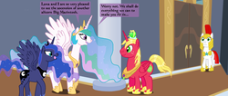 Size: 2541x1080 | Tagged: alicorn, alicornified, artist:hakar-kerarmor, ask four inept guardponies, big macintosh, celestimac, female, lunamac, male, oc, oc:arrowhead, princess big mac, princess celestia, princess luna, race swap, royal guard, safe, shipping, straight
