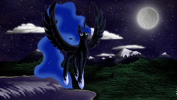 Size: 3200x1800   Tagged: safe, artist:glasswindow1337, nightmare moon, cloud, female, flying, forest, lake, missing accessory, moon, mountain, nicemare moon, night, river, scenery, solo