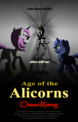 Size: 900x1408 | Tagged: safe, artist:aleximusprime, discord, princess celestia, princess luna, alicorn, draconequus, pony, age of the alicorns, filly, foal, male, royal sisters, woona
