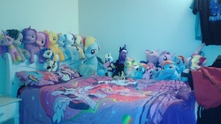 Size: 2560x1440 | Tagged: bedroom ponies, funrise, irl, photo, plushie, safe