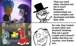 Size: 947x576   Tagged: safe, big macintosh, flash sentry, marble pie, twilight sparkle, equestria girls, double standard, fandom, female, flashlight, hypocrisy, ironic, male, marblemac, meme, op is a duck, op is trying to start shit, op started shit, rage face, shipping, straight