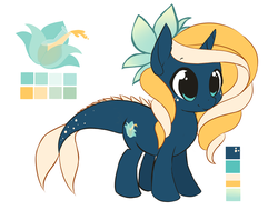 Size: 4001x3176 | Tagged: safe, artist:starshinebeast, oc, oc only, oc:tidal charm, aquapony, pony, unicorn, cute, female, filly, flower, flower in hair, foal, reference sheet, seaunicorn, simple background, smiling, solo, white background