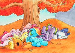 Size: 1014x720 | Tagged: safe, artist:kittyhawk-contrail, applejack, fluttershy, pinkie pie, rainbow dash, rarity, spike, twilight sparkle, alicorn, dragon, earth pony, pegasus, pony, unicorn, autumn, baby, baby dragon, cuddle puddle, cuddling, cute, cutie mark, dashabetes, diapinkes, drool, eyes closed, female, horn, jackabetes, male, mane seven, mane six, nap, nose in the air, on back, on side, open mouth, pony pile, prone, raribetes, shyabetes, signature, sleeping, smiling, spikabetes, tongue out, traditional art, tree, twiabetes, twilight sparkle (alicorn), under the tree, uvula, wings