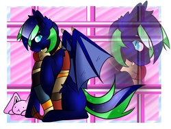 Size: 1600x1200   Tagged: safe, artist:oceandrops, oc, oc only, oc:silver fang, bat pony, pony, clothes, cute, fluffy, fourth doctor's scarf, ouran high school host club, scarf