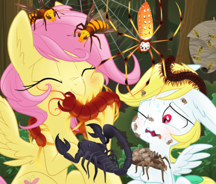 Size: 2000x1700 | Tagged: safe, artist:equestria-prevails, angel bunny, fluttershy, arachnid, centipede, hornet, insect, millipede, pegasus, pony, scorpion, spider, wasp, yellowjacket, accurate arthropod anatomy, adoracreepy, alternate hairstyle, arthropod, baby spider, blushing, creepy, creepy crawlies, cute, do not want, duo, emperor scorpion, entomophilia, entomophobia, eyes closed, fear, featured image, forest, forest background, hilarious in hindsight, hive, japanese giant hornet, love, nightmare fuel, orb weaver spider, ponified, ponified pony pets, realistic arthropods, scientifically accurate, shyabetes, species swap, spider web, sweat, tree, wasp nest, wavy mouth, wolf spider