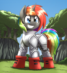 Size: 2624x2831 | Tagged: armor, artist:otakuap, freckles, grin, male, moth, oc, oc:fluffy the bringer of darkness, oc:krylone, oc only, pony, safe, solo, stallion, unicorn