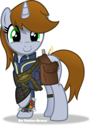 Size: 3122x4290 | Tagged: safe, artist:vector-brony, oc, oc only, oc:littlepip, pony, unicorn, fallout equestria, clothes, cute, fanfic, fanfic art, female, gun, handgun, hooves, horn, little macintosh, mare, optical sight, pipabetes, pipboy, pipbuck, raised hoof, revolver, saddle bag, simple background, smiling, solo, transparent background, vault suit, vector, weapon