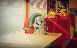 Size: 2508x1562 | Tagged: safe, artist:ruhisu, applejack, marble pie, oc, oc:brave wing, big mac (burger), burger, canon x oc, fast food, food, hamburger, mcdonald's, meat, ponies eating meat, pun, shipping