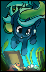 Size: 694x1072 | Tagged: safe, artist:starshinebeast, oc, oc only, oc:tidal charm, aquapony, diving, female, filly, foal, seaunicorn, solo, swimming, treasure, underwater