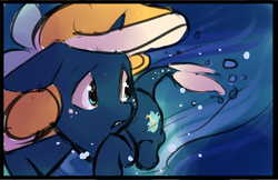 Size: 1071x695 | Tagged: safe, artist:starshinebeast, oc, oc only, oc:tidal charm, aquapony, bubble, female, filly, floppy ears, foal, frown, looking back, ocean, scared, seaunicorn, solo, swimming, water, wide eyes