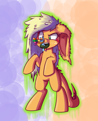 Size: 850x1050   Tagged: safe, artist:heir-of-rick, applejack, inkling, monster pony, original species, tatzlpony, daily apple pony, context is for the weak, crossover, impossibly large ears, ponified, size difference, species swap, splatoon, splattershot, tatzljack, tentacle tongue, tentacles, wat