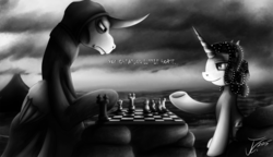 Size: 1250x722 | Tagged: safe, artist:jamescorck, oc, oc:movie slate, alicorn, pony, alicornified, chess, chess with death, chessboard incorrectly oriented, crossover, grim reaper, ponified, the seventh seal