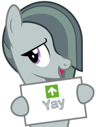 Size: 1461x1926   Tagged: safe, artist:camo-pony, marble pie, cute, daaaaaaaaaaaw, female, hoof hold, lidded eyes, marblebetes, open mouth, reaction image, simple background, smiling, solo, transparent background, upvote, yay